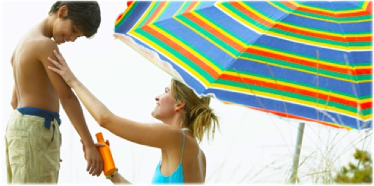 unbrella and sunscreen