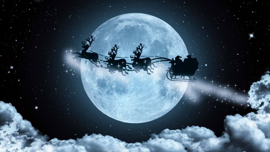 Santa and full moon